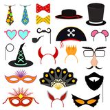 Cartoon Color Photo Booth Party Icon Set. Vector royalty free illustration