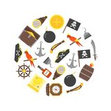 Cartoon Pirate Signs Round Design Template Ad. Vector. Cartoon Color Pirate Signs Round Design Template Ad Adventure Concept Flat Design Style Include of vector illustration