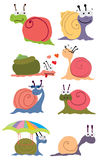 Cartoon color snails Stock Photography