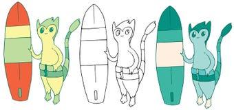 Cartoon color surf monster hand draw doodle summer happy funny vector illustration