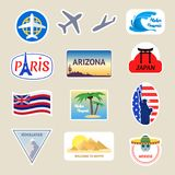 Cartoon Color Travel Stickers Suitcase Set. Vector royalty free illustration