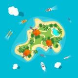 Cartoon Color Island in Ocean. Vector. Cartoon Color Tropical Island in Ocean or Sea and Transport Top View Flat Style Design. Vector illustration vector illustration