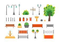 Cartoon Color Urban Park Elements Set. Vector Stock Photo