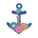 Cartoon and color vector illustration of anchor. Royalty Free Stock Images