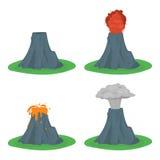Cartoon Color Volcano Erupting Set. Vector Royalty Free Stock Image