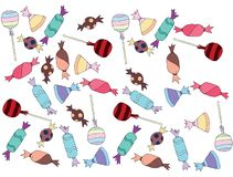 Cartoon colored art set doodle candy lolipop caramel sweet sugar stock illustration