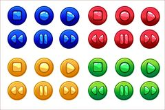Cartoon Colored Audio buttons, vector UI game assets. Cartoon glossy Colored Audio buttons, vector UI game assets Stock Photos