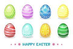 Cartoon Colored Easter eggs with different ornaments. Vector Paschal object Stock Photos