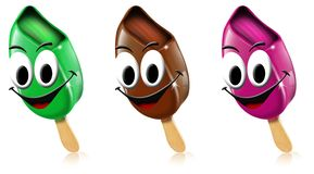 Cartoon colored ice creams with smile Royalty Free Stock Image