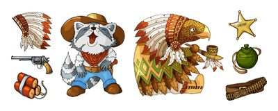 Cartoon colored items characters cowboy and indian in national costume royalty free illustration