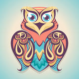 Cartoon colored owl Stock Photos