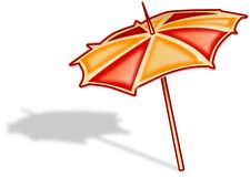 Cartoon colored parasol fixed in ground Stock Images