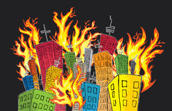 Cartoon colored skyscrapper suburb catching fire Stock Image