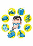 Cartoon Colorful Allergy Collection. With sneezing man and different allergens isolated vector illustration Stock Images