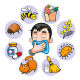 Cartoon Colorful Allergy Set. With insect medical food bee plant dust animal allergens  vector illustration Royalty Free Stock Photography