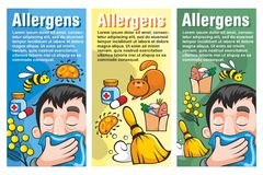 Cartoon Colorful Allergy Vertical Banners Royalty Free Stock Photos