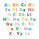 English color alphabet. Cartoon colorful alphabet on white background, uppercase and lowercase letters Royalty Free Stock Images