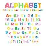 Alphabet, numbers and symbols. Cartoon colorful alphabet on white background, uppercase and lowercase letters, numbers and symbols Stock Image