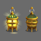 Cartoon colorful ancient lamp for fantasy games. Royalty Free Stock Image