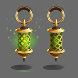 Cartoon colorful ancient lamp for fantasy games. Vector illustration Stock Image
