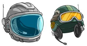 Cartoon space astronaut and army soldier helmet. Cartoon colorful astronaut space protective helmet with clear glass visor. Modern army protective soldier helmet stock illustration