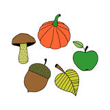 Cartoon Colorful Autumn Objects Stock Photos