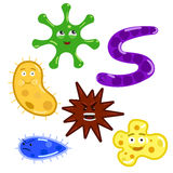 Cartoon colorful bacteria and germs. Bacteria germs and viruses. Cartoon colorful  illustration Royalty Free Stock Photo