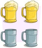 Cartoon colorful beer mugs vector icon set Royalty Free Stock Images