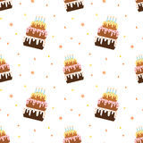 Cartoon colorful birthday cake seamless pattern illustration Stock Photo