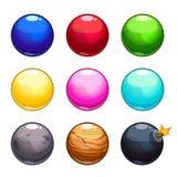 Cartoon colorful bubbles balls set Stock Images