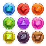 Cartoon colorful bubbles with gemstones inside Stock Photos