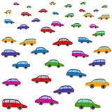 Cartoon colorful cars vector pattern. Toy Royalty Free Stock Photography