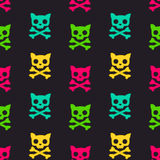 Cartoon colorful cat skull seamless pattern illustration Stock Photography
