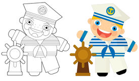 Cartoon colorful character - sailor - with coloring page Royalty Free Stock Image