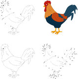 Cartoon colorful cock. Coloring book and dot to dot game for kid Royalty Free Stock Photo