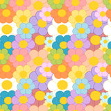 Cartoon colorful daisy flowers seamless pattern illustration Stock Images