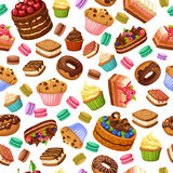Cartoon Colorful Desserts Seamless Pattern stock illustration