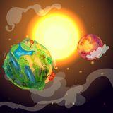 Cartoon Colorful Earth Planet Template. With farm forest field landscapes mars globe and sun in space vector illustration Royalty Free Stock Image