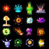 Cartoon Colorful Explosions Collection Stock Photography