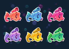 Cartoon colorful fish stickers set. Royalty Free Stock Image