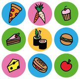 Cartoon colorful food types icon set Stock Photography