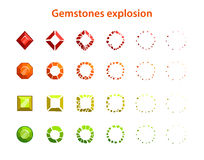 Cartoon colorful gemstones explosion frames Royalty Free Stock Image