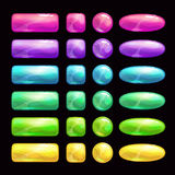 Cartoon colorful glossy buttons set. Stock Photography