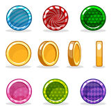 Cartoon colorful glossy Coin set, game animation Stock Image