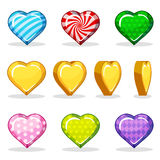 Cartoon colorful glossy heart  set, game animation Royalty Free Stock Photo