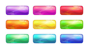 Cartoon colorful glossy long buttons set. Royalty Free Stock Photos