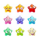 Cartoon colorful glossy star characters set. Stock Photography