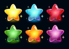 Cartoon colorful glossy stars Stock Photography