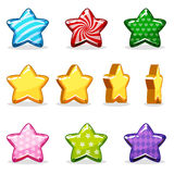 Cartoon colorful glossy stars set, game animation Stock Images