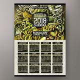 Cartoon colorful hand drawn doodles Beer fest 2018 year calendar template Stock Images